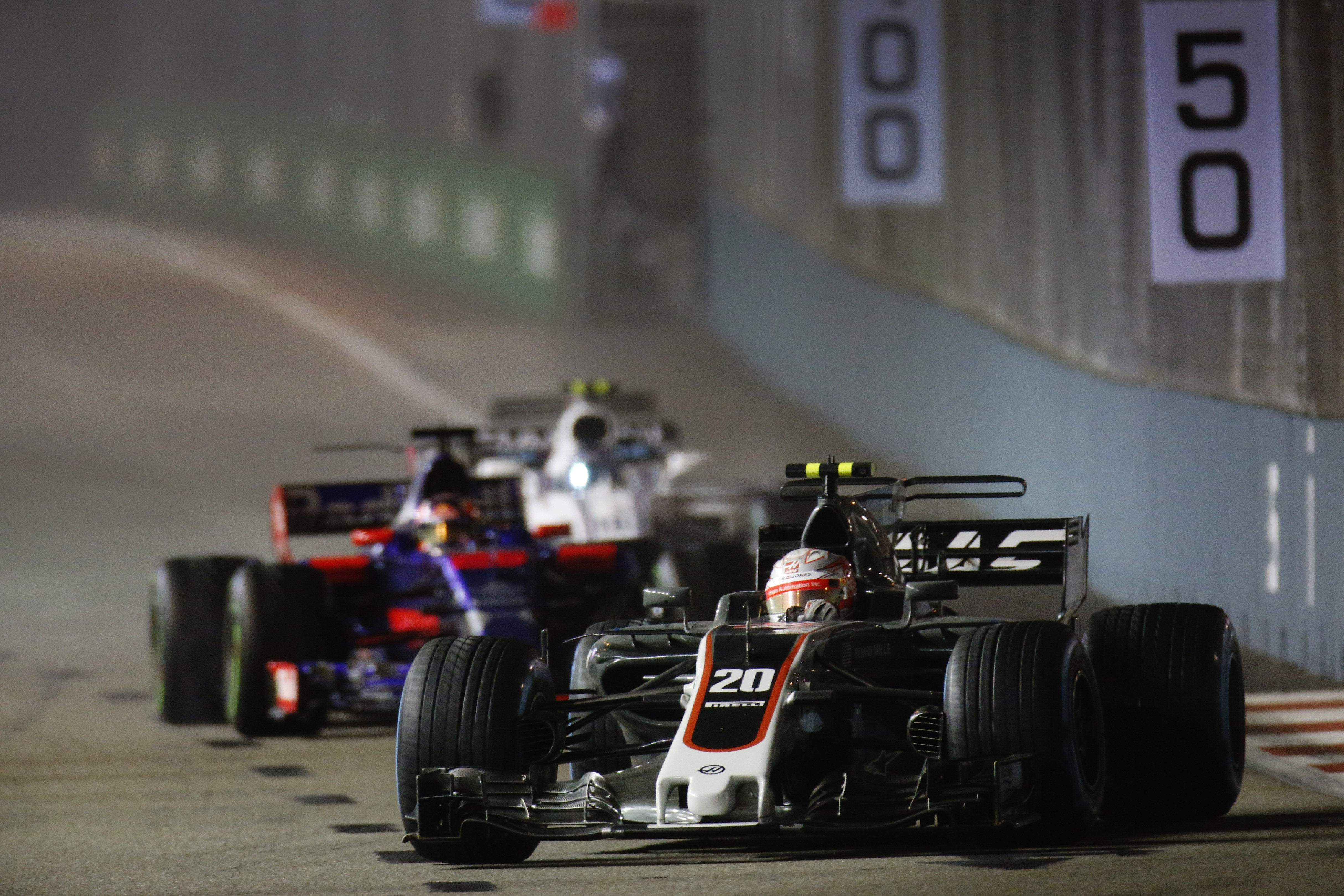 Kevin Magnussen leading a race