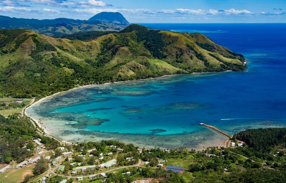 Aerial view of Fiji coastline