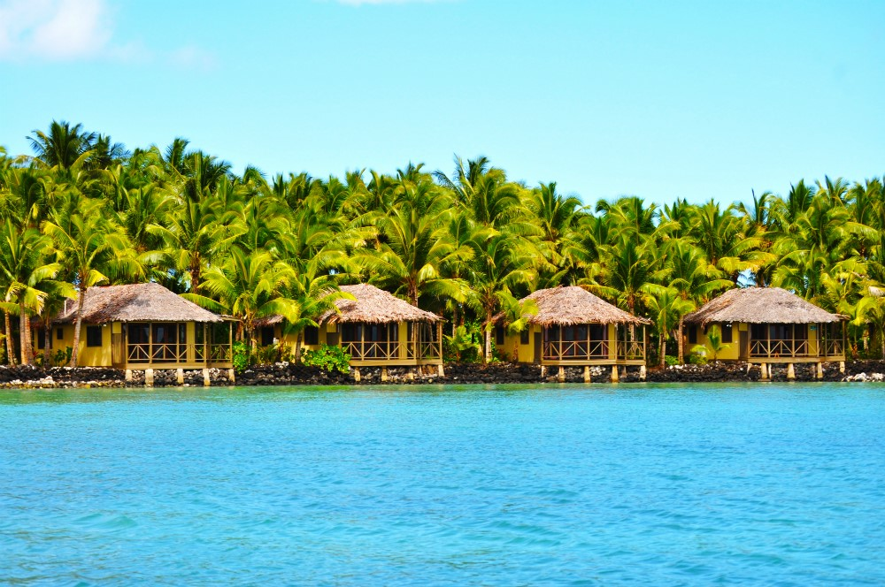 Waterfront huts at Le Vasa Resort in Samoa