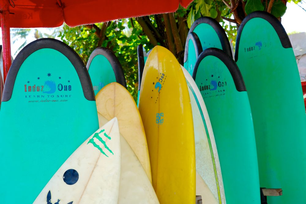 Vibantly-coloured surfboards at Kuta Beach