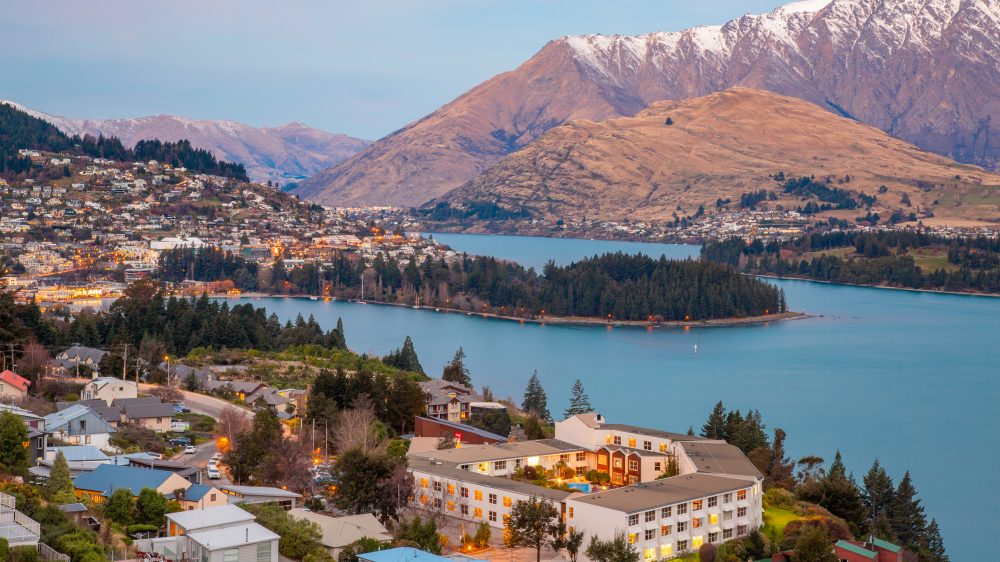 Aerial view of the skyline and landscape of Queenstown