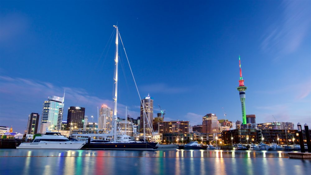 Skyline of Viaduct Harbour in evening