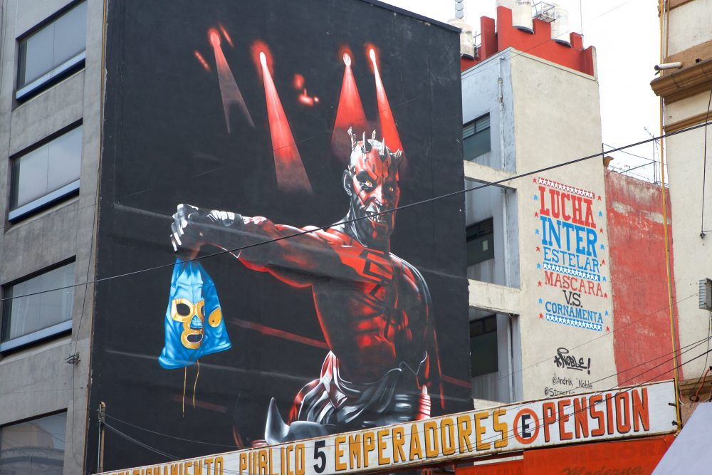 Closeup of artwork on Arena Mexico in Mexico City