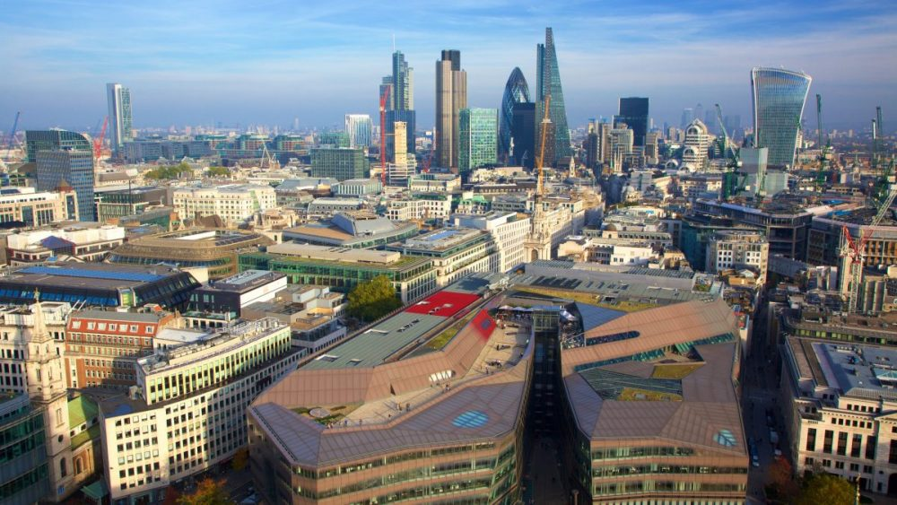 Aerial view of London cityscape