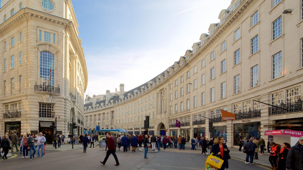 People and buildings in Regent Street in London
