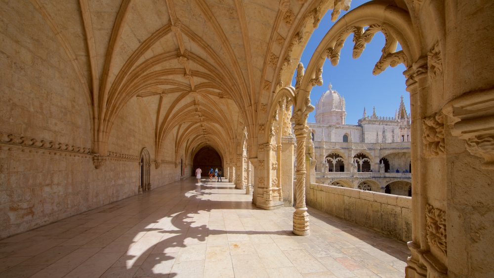 Walkway and arches in Jeronimos Monastery in Lisbon